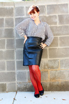 black Gianni skirt - burnt orange patterned Forever 21 tights