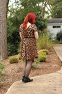 Black-ankle-boohoo-boots-brown-leopard-print-boohoo-dress