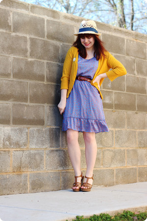 beige navy ribbon H&M hat - light purple modcloth dress