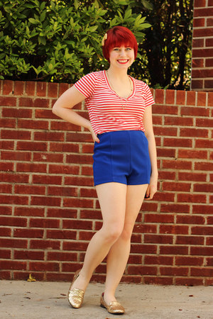 gold glitter Xhileration loafers - blue high waisted Forever 21 shorts