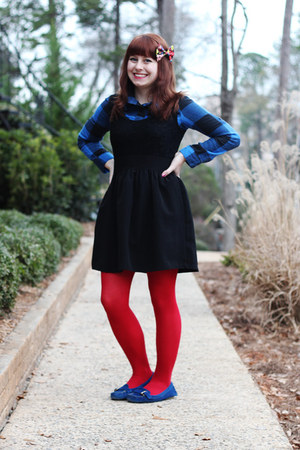 blue flannel plaid Rave top - black lace top poof apparel dress