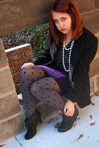 heather gray Forever 21 tights - black Glo boots - deep purple Forever 21 skirt