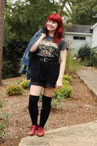 dark gray vintage t-shirt - red oxford Forever 21 shoes - blue denim so jacket