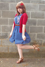 Navy-forever-21-dress-light-brown-sandal-forever-21-wedges-brick-red-short-s