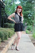 white checkered print Boohoo blouse - black polka dot Forever 21 shorts