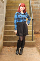 blue Rave shirt - black knee high Boohoo boots