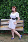 White-bailey-blue-dress-black-thrift-store-belt-blue-target-shoes-blue-for