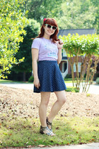 blue denim polka dot Cherokee skirt - aquamarine cat eye Forever 21 sunglasses