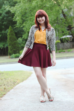 mustard sheer Forever 21 blouse - tan zebra print Forever 21 cardigan