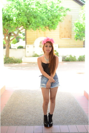 blue DIY shorts - black bustier NA bra