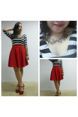 black Forever 21 top - ruby red Payless heels - brick red Topshop skirt