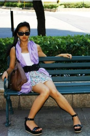 light purple scarf - light blue skirt - black wedges