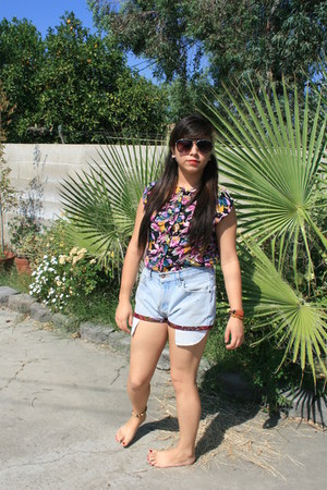 floral unknown shorts - floral ashley shirt - aviator shadees unknown glasses