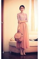 light purple lace lily brown blouse - salmon satchel Vincci bag