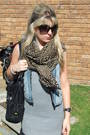 Blue-bleached-denim-vest-brown-leopard-print-scarf-silver-cowl-neck-top-bl