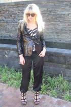black sequion blazer- Foschini jacket - black zebra print bustier top- Foschini
