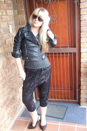 black Faux leather biker- foschini jacket - gray cowl neck- random boutique top