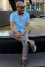 Dark-brown-sebago-shoes-heather-gray-h-m-hat-sky-blue-h-m-shirt