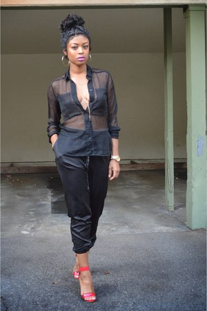 black sheer button up H&M top - black satin joggers Urban Outfitters pants