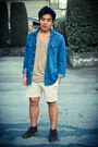 Dark-brown-guess-shoes-h-m-shirt-ivory-diy-hollister-shorts