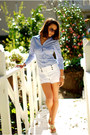 Periwinkle-h-m-shirt-white-charlotte-russe-shorts-gold-sofft-sandals