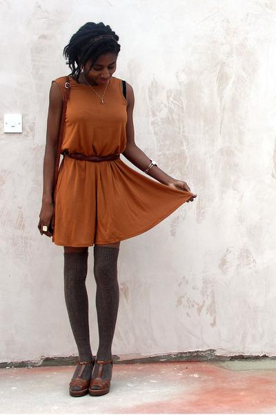 bronze shift asos dress - tawny cross vintage bag - light brown thigh high tesco