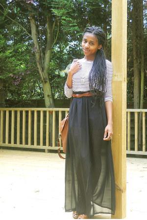 dark brown satchel new look bag - tawny wedges asos wedges - white breton H&M to