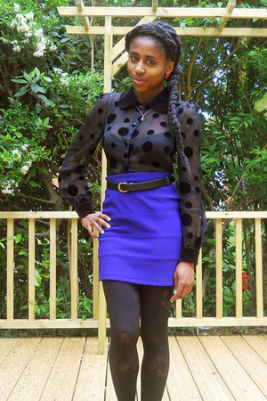 black lace panel House of Holland tights - black polka dot verycouk blouse - blu