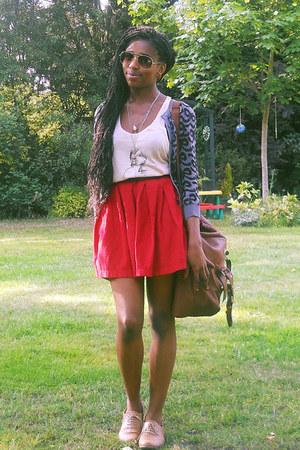 satchel new look bag - pleat Zara skirt - tank top Reiss top