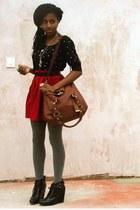 heather gray wool Primark tights - dark brown satchel new look bag - black shoes