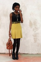 black patterned House of Holland tights - tawny satchel asos bag - black lace up