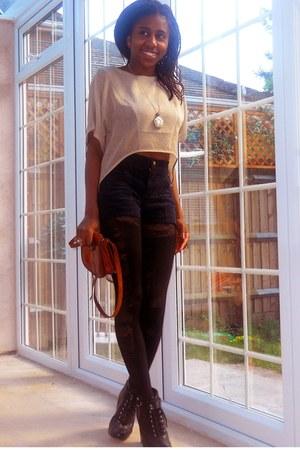 black lace House of Holland tights - tawny satchel vintage bag - navy high waist