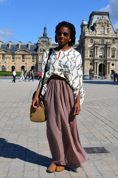 maxi skirt DIY skirt - Zara bag - feather print Boohoocom blouse