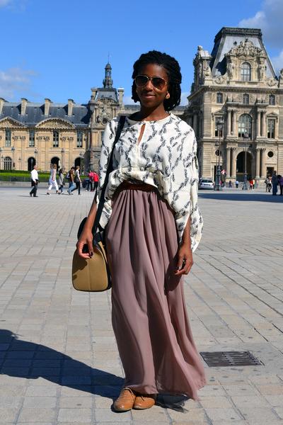 maxi skirt DIY skirt - Zara bag - feather print Boohoocom blouse