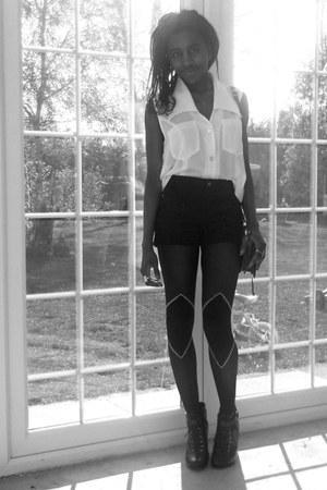 black bandanaknees House of Holland tights - dark brown satchel vintage bag - na