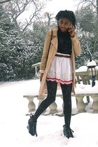 beige Only coat - black H&M boots - white Topshop skirt - brown Primark belt - b