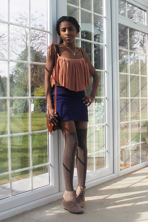 brown thigh high tesco socks - navy bodycon Topshop skirt - light orange pleats