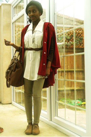 camel brogues tesco shoes - white vintage blouse - tan riding pants American App