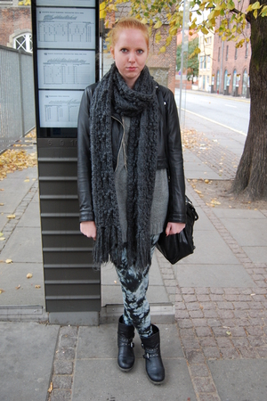 H&M scarf - H&M jacket - Monki leggings - Aldo accessories - GINA TRICOT sweater