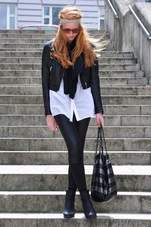beige Topshop accessories - black H&M jacket - black Zara scarf - white Monki sh