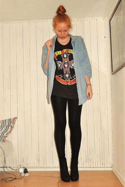sky blue Zara shirt - dark gray H&M t-shirt - black H&M leggings - black Shoe bo