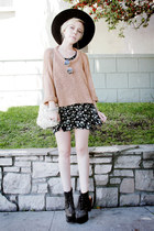 black Jeffrey Campbell shoes - black vintage dress - black vintage hat - peach L