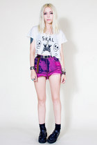 DIY shorts - Anarchic shoes - Glow Worm Jewelery necklace - tuco t-shirt