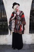 brick red poncho vintage sweater - black velvet vintage skirt