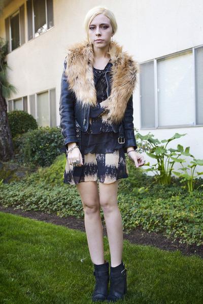 black Line & Dot dress - black lucky shoes - black vintage jacket