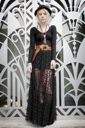 black American Apparel dress - black lace lulus skirt