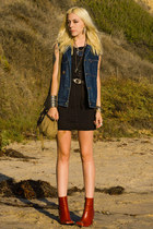 burnt orange vintage boots - dark gray Crash and Burn dress - navy vintage vest