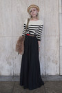 Black-striped-h-m-sweater-olive-green-vintage-bag-black-pleated-vintage-skir
