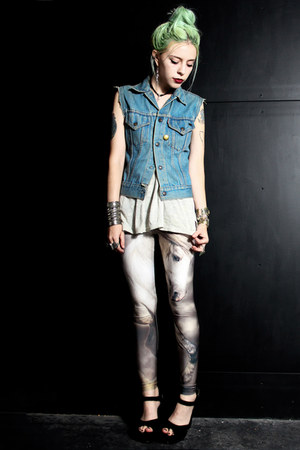 silver Lovelysally leggings - sky blue denim vintage vest