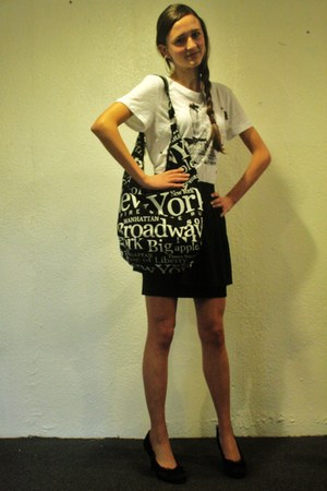 black new york purse - white H&M shirt - black jcpenneys skirt